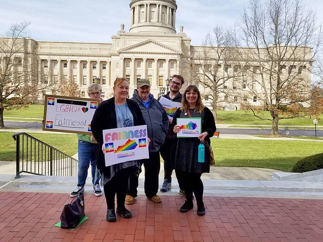 Members of KFTC's SoKY Chapter take action for Fairness in Frankofrt