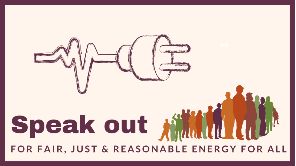 "photo of a plug and a saying: ""Speak out for fair, just, and reasonable rates for all"""