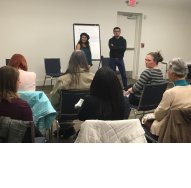 Heyra and Jose lead discussion on next steps attendees can take to protect and promote immigrant rights.