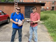 Lance Soto of the American Indian Movement of Indiana and Kentucky and Logan Fedders prepare to canvass in Covington