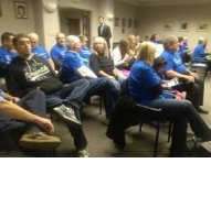 Shelby County KFTC members and supporters were visible with their blue T-shirts.