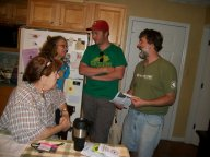Members Filly Tierney, Rosanne Klarer, Ben Baker, and Jack Barnett talk about how the day went in Jack's kitchen after the event concluded.