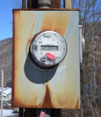An electric meter in the winter